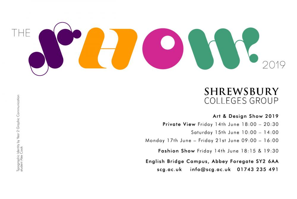 Shrewsbury Colleges Group Art & Design Show poster