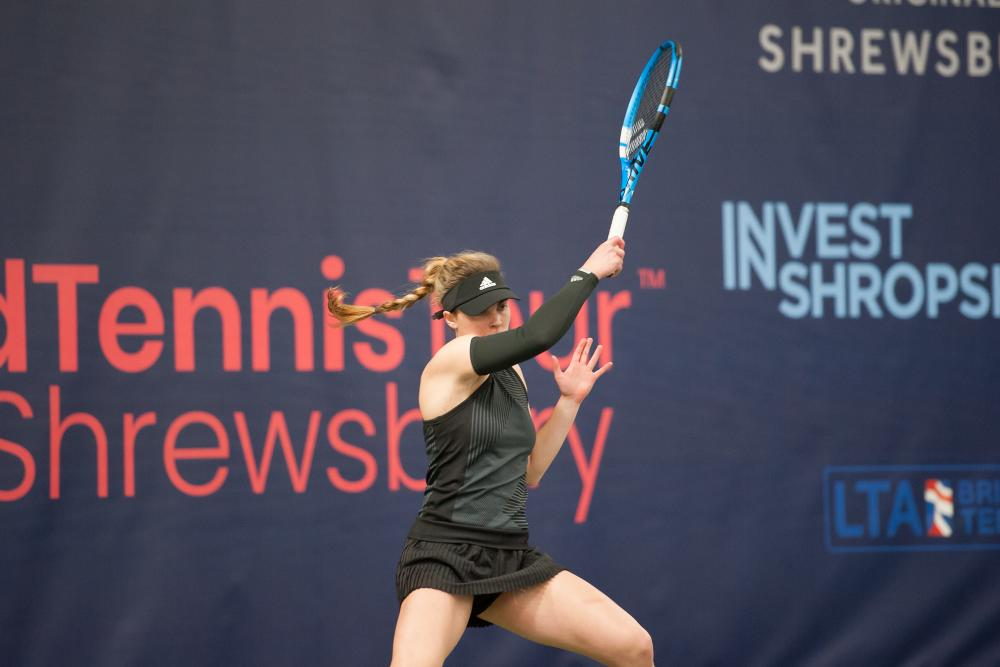 Maia Lumsden in action at the ITF Budgen Motors World Tour tennis event at The Shrewsbury Club