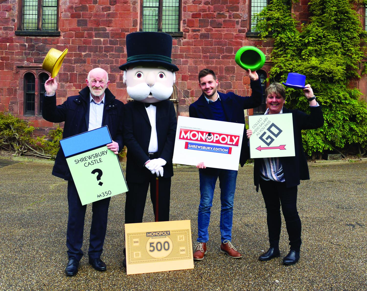 Shrewsbury Town Council's Leader Alan Moseley, Mr Monopoly, Jake Houghton, Winning Moves and Lezley Picton, Portfolio Holder for Culture and Leisure.