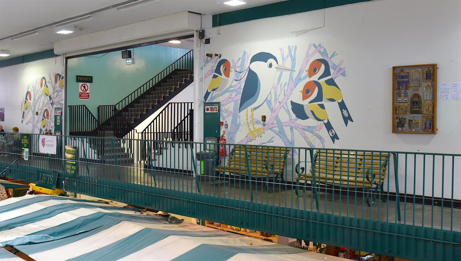 'Banksy of the Bird World' paints urban mural in  Shrewsbury Market Hall in honour of rare heron