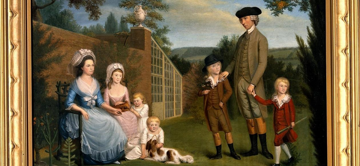 John Coakley Lettsom (1733-1810) with his family, in the garden of Grove Hill, Camberwell, c. 1786, from the Wellcome Library, London