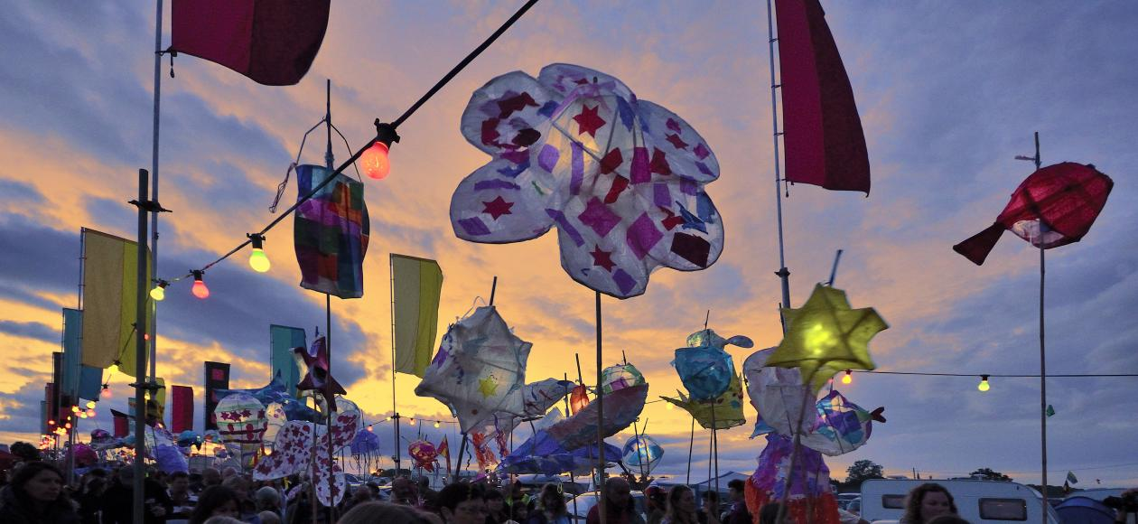 Lanterns at the Shrewsbury Folk Festival. Image courtesy of Danny Beath and Shrewsbury Folk Festival
