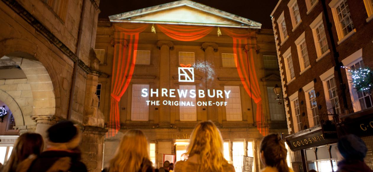 Christmas projection lights in Shrewsbury, Shropshire