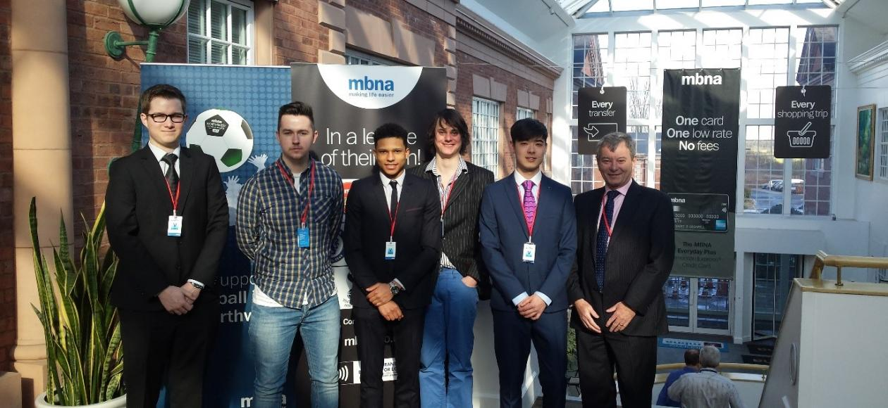 Students with Visiting Lecturer Chris Hampshire during the visit to University Centre Shrewsbury, Shropshire