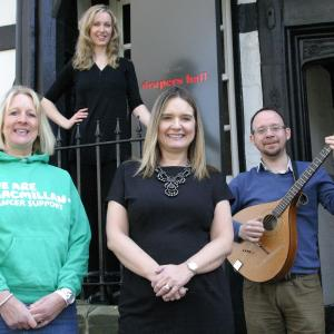 Helen Knight,fundraising manager, Macmillan Cancer Support, Jenny Ebrey, Shropshire Drama Company, Sharon Huxley, owner Drapers Hall and Adam Beresford-Browne, Shropshire Drama Company.