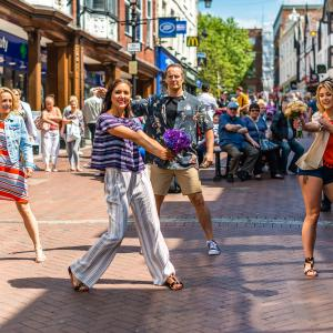 Best foot forward – dancing models bring 'Fashion in Bloom' to life outside Shrewsbury Shopping's Darwin and Pride Hill centres.