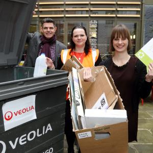 Kirsten Henly, Shrewsbury BID Executive Director, Mike Dalton, stop. Cafe Bar and Helen Morewood, Veolia