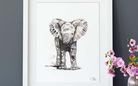 Watercolour print of elephant  by Meg Hawkins